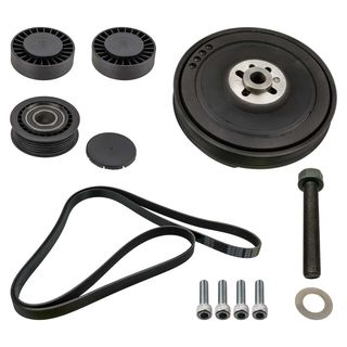 Belt drive repair kit pulley tensioner VW T4 Transporter Bus Multivan 2.4D 2.5 TDI with Clima from build Year 04/1999